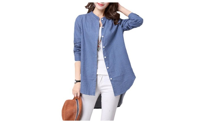 Women's Casual Stand Collar Buttoned Cuffs Blouse
