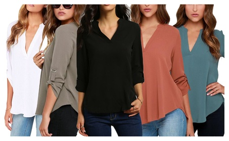 Women's V Neck Big Yards Casual Loose Soild Chiffon Blouses Cuffed Sle 4a67f2d1-a6e8-46dc-9a43-3cb6ad829812