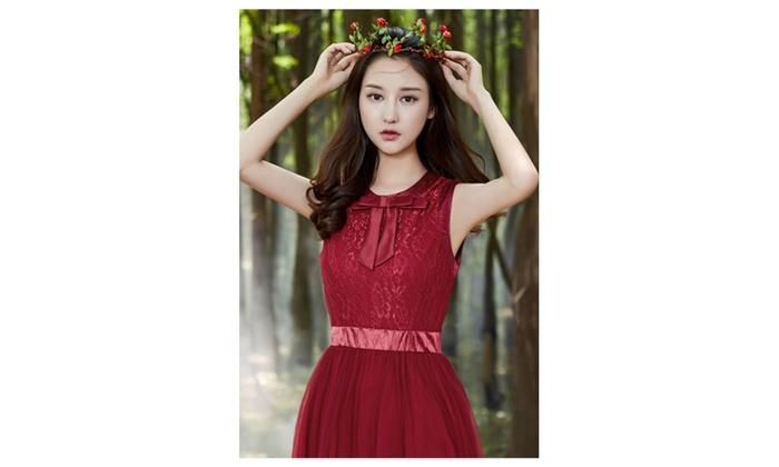 Women Thin Lace Long Chiffon Party Dress Red - KMWD492