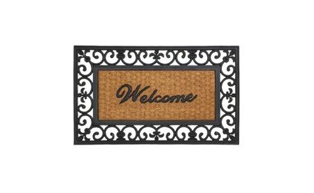 Summerfield Terrace Outdoor Decor Fleur-De-Lis Framed Welcome Mat 3ff07989-5b37-4bd9-ae13-e06739911a01