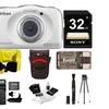 Nikon COOLPIX W100 Waterproof Digital Camera (White) w/ 32GB bundle