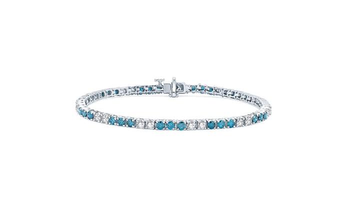 5 Cttw Blue And White Diamond Bracelet In 14k Gold Kb51965
