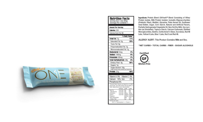 One Bar Birthday Cake 12ct 21g Protein Energy Gluten Free