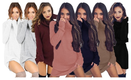Women's Turtleneck Long Sleeve Slim Fit Knit Pullover Sweater Dress e298ed9f-a03c-4ae8-ba97-bc059df371d0