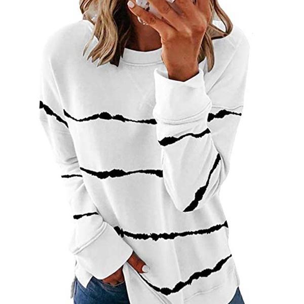 GOSOPIN Womens Tie Dye Printed Long Sleeve Sweatshirt Round Neck Casual Loose Pullover Tops Shirts