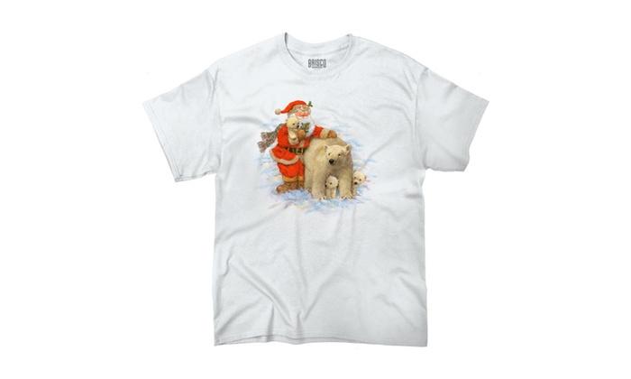 Santa and Cute Polar Bears T-Shirt