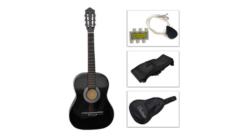 Black Beginners Acoustic Guitar with Guitar Case, Strap, Tuner & Pick e766d299-d9b5-44fc-b18f-fc681ea145c8