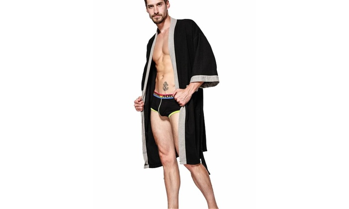 Up To 58% Off on Men's Kimono Robe Cotton Waff    | Groupon