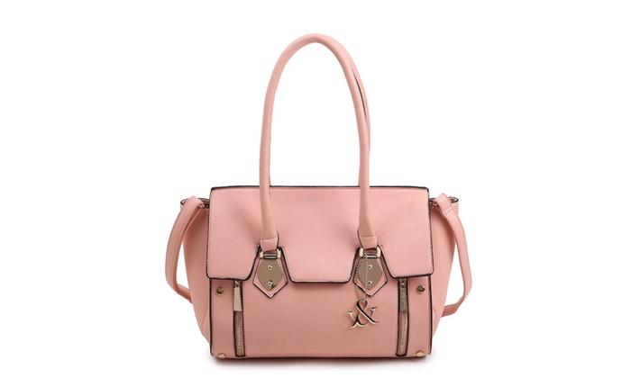 Hue & Ash Solid Top Handle bag with Flap HNA173