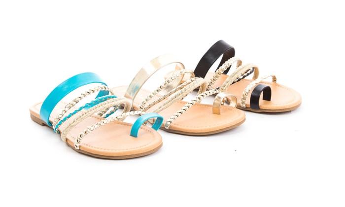 Multi Strap Slip On Sandal