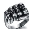 Stainless Steel Gothic Flower Skull Men's Ring