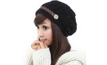 Shop Groupon Women Winter Beanie Cabled Checker Pattern Knit Hat Button  Strap Cap 50916524b56d