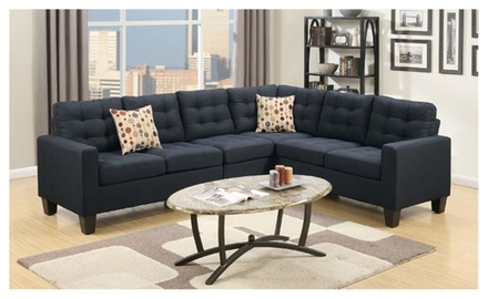 Tashir sectional sofa upholstered in polyfiber groupon for Sectional sofa groupon