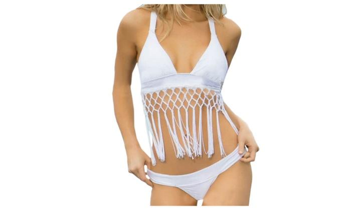 Women's Tassel Hollow-Out Bikini Set