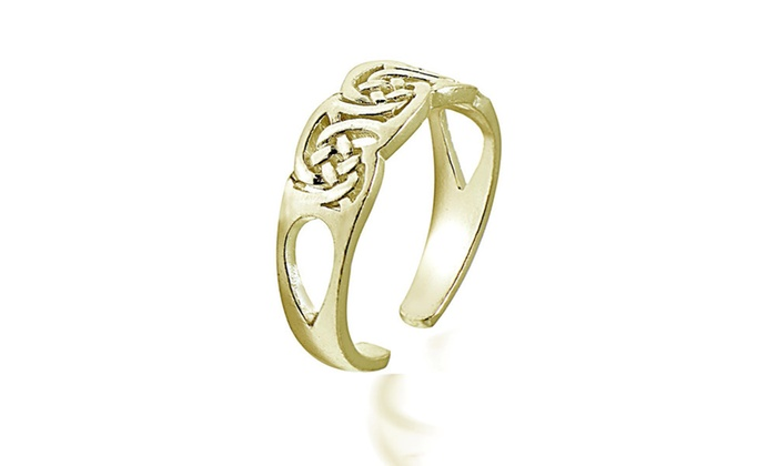 Gold Tone Over Sterling Silver Irish Celtic Knot Toe Ring 2RcP4iwSG