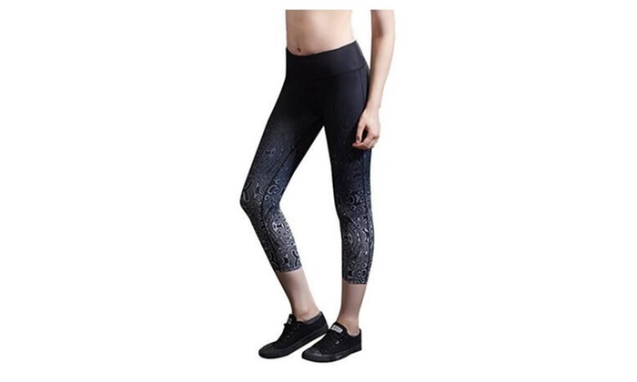 SSNB Women's Ombre Capri Leggings Yoga Capris Pants