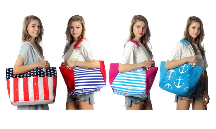 Oversize Canvas Beach Shoulder Bag Tote with Rope Handles