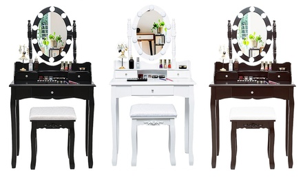 Costway Makeup Vanity Dressing Table Set w/10 Dimmable Bulbs and Touch Switch