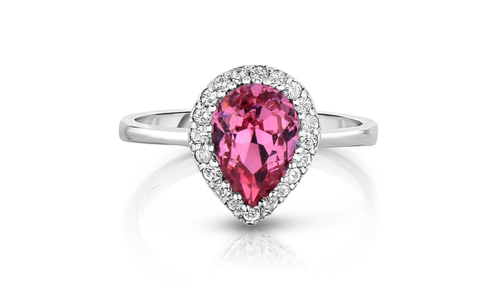 c0137c8d8 Pink Swarovski Crystal Pear Shaped Ring in Sterling Silver   Groupon