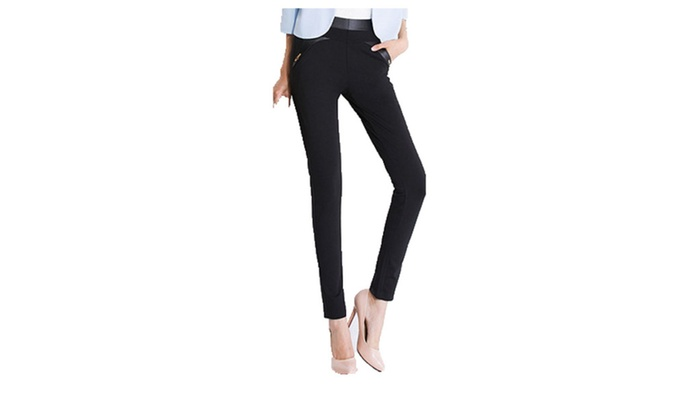 Women's Boot Cut Slim Fit PullOnStyle Casual Solid Trousers