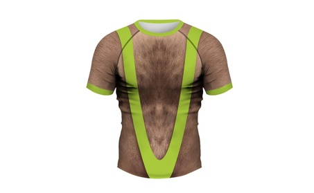 Mens Sexy Chest Hair Print Raglan Short-Sleeved Wild Round Neck TShirt ac8d3182-c192-4656-acd8-8902e656f0c5
