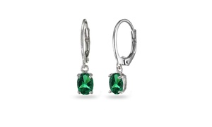 Emerald 7x5mm Oval Dangle Leverback Earrings in Sterling Silver