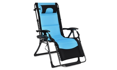Costway Outdoor Folding Padded Zero Gravity Oversized Patio Recliner Chaise