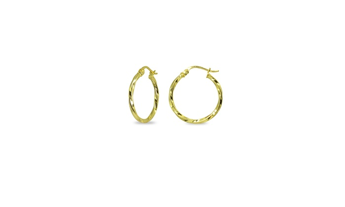 2da53a38d 1.8x20mm Polished Twist Round 3/4 Inch Gold Plated Sterling Silver Hoop  Earrings