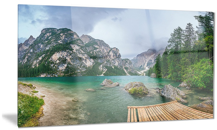 Metal Wall Art Mountain Landscapes : Lake between mountains landscape photo metal wall art