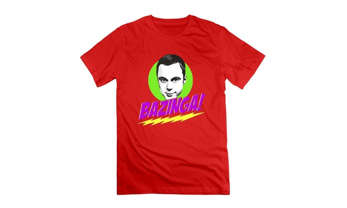 Men's Big Bang Theory Sheldon Bazinga T-shirts Red