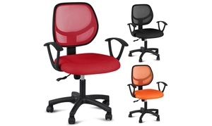 Red/Orange Adjustable Swivel Computer Desk Chair With Arms Seating