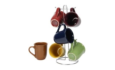 Gibson Cafe Amaretto 7 pc Mug Set With Wire Rack - 15 oz 6 Mugs 7eebc462-7913-4af9-9043-6cf4b45a0fbf