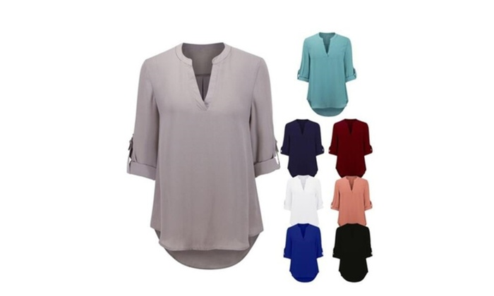 New Women V Neck Solid Chiffon Blouse Sexy Lady