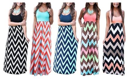 Womens Boho Empire Chevron Tank Top Casual Maxi Long Dress Beach Dress