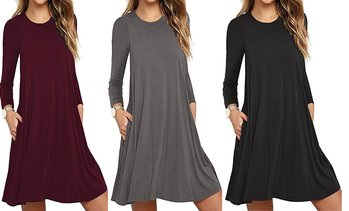 Women's Solid Color Long Sleeve Pocket Casual Loose T-Shirt Dress