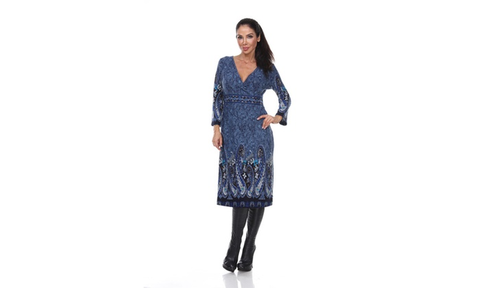 Blue-862 Ninette Embroidered Sweater Dress
