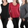 Women's Long Sleeve Knit With Sheering Back Neck Detail - TBIS