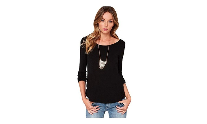 Womens Sexy Backless Pullover Long Sleeve T-shirt Top - Black