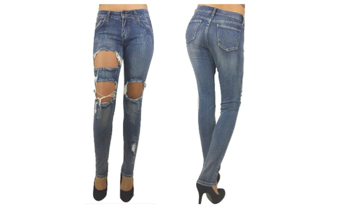 Juniors' Skinny Jean with big hole rips and scratch design