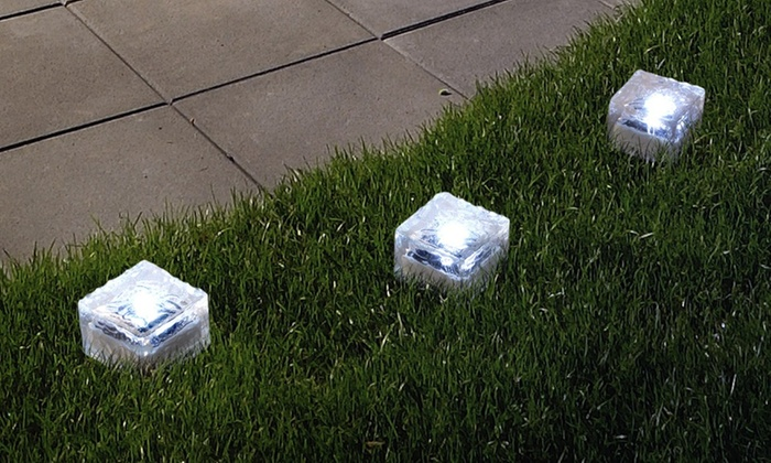 Solar Outdoor LED Ice Cube Yard Ornament (3 Pack) ...