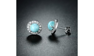 Genuine Larimar Halo Earrings