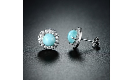 Genuine Larimar Halo Earrings 469cecbd-bb79-4588-91e5-4d34df4846c7