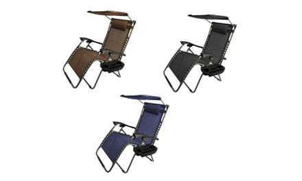 XL Oversized Zero Gravity Chair with Adjustable Sunshade & Drink Tray