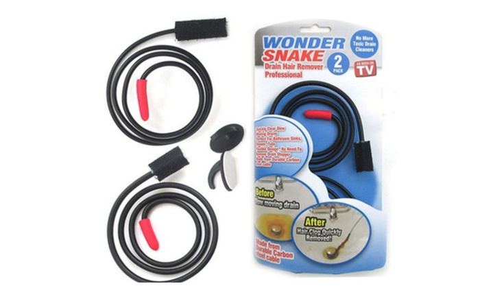 Premium New 2-Pack Wonder Snake Clogged Drain Hair Remover