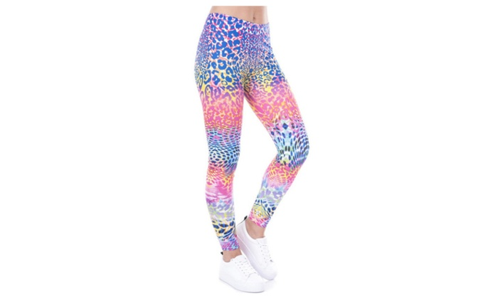596fe9632d8d Neon Leopard Women's Leggings Printed Yoga Pants Workout | Groupon