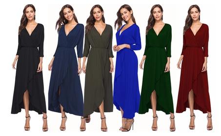 Sexy V-Neck 3/4 Sleeve Pure Color Skater Dress 5be34eab-7aa0-42a2-920e-5b08402c1036