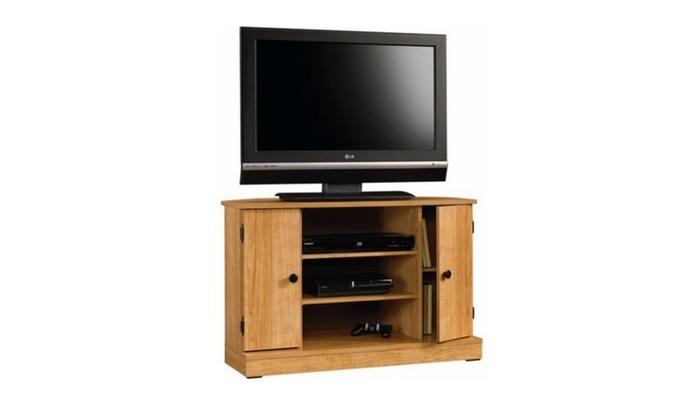 Sauder Beginnings Highland Oak Corner Tv Stand For Tvs Up To 47