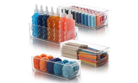 Storagebud Plastic Storage Organizer Bins for Craft & Supplies - 4 Pack