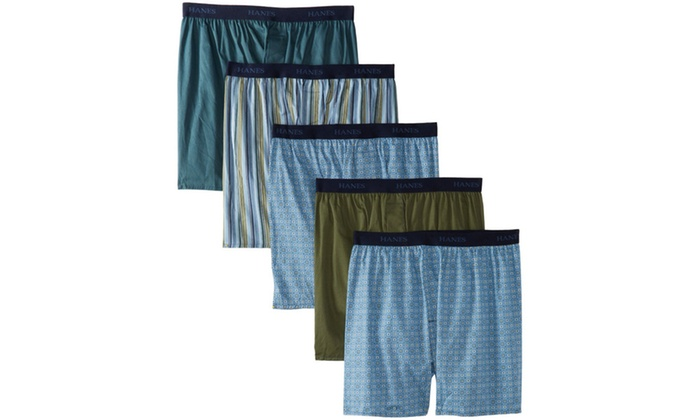 Hanes Mens 5-Pack Tagless Assorted Prints Boxer