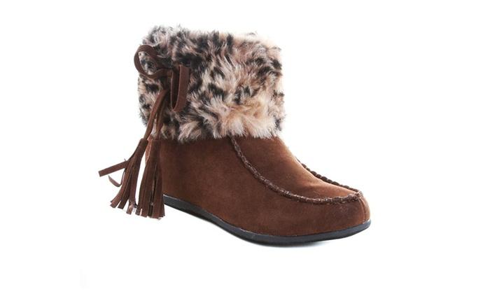Leopard Vegan Faux Fur Flat Brown Moccasin Bootie Womens Groupon